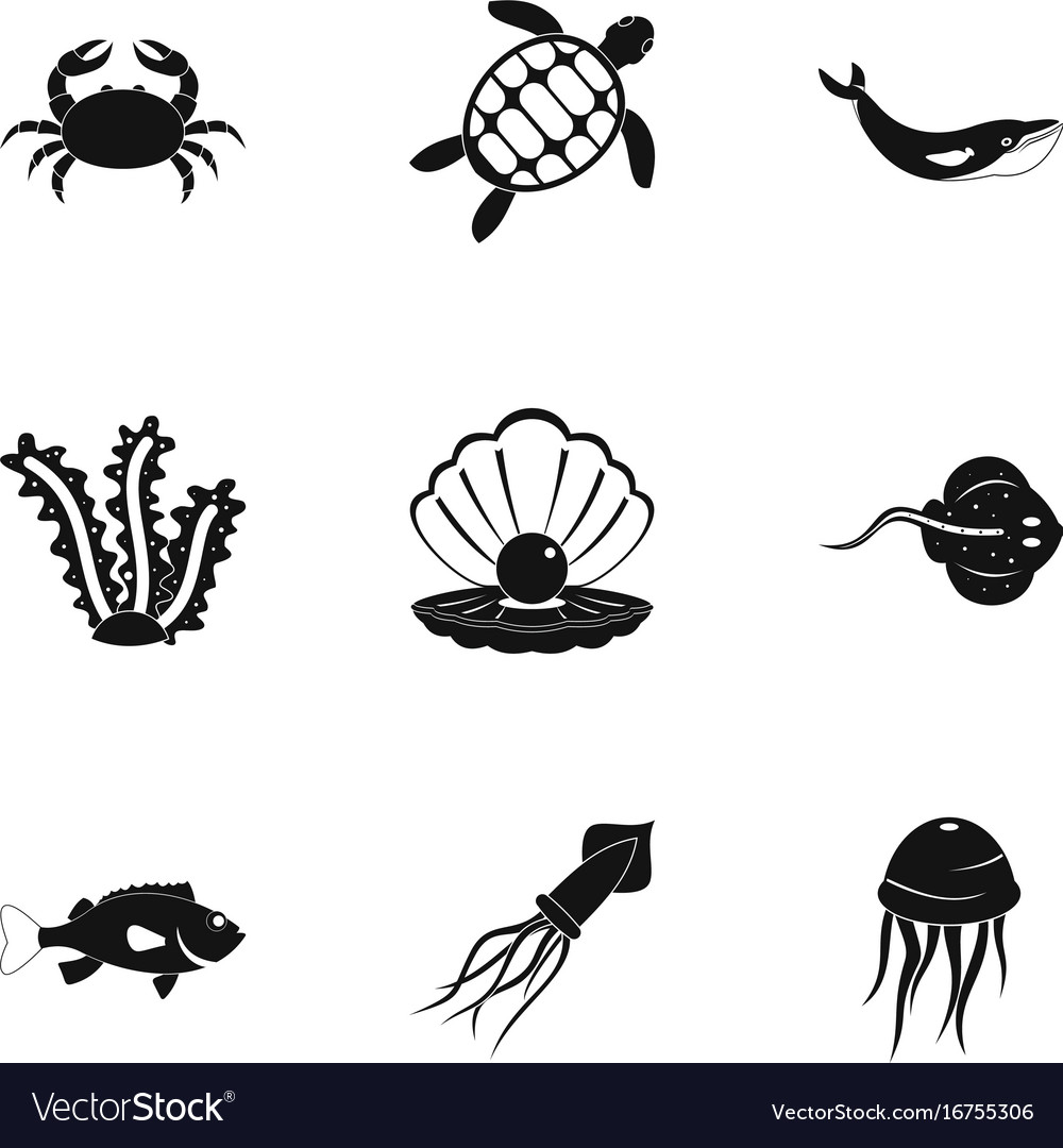 Underwater animal stickers icons set simple style