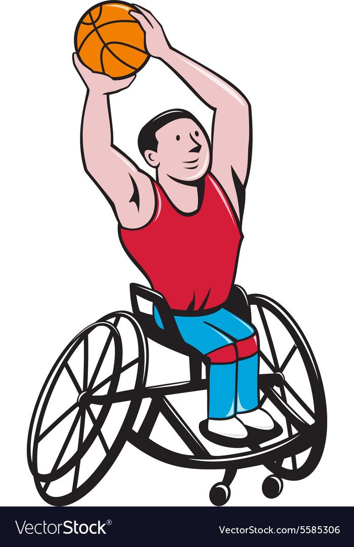 Wheelchair Basketball Player Shooting Ball Cartoon vector image