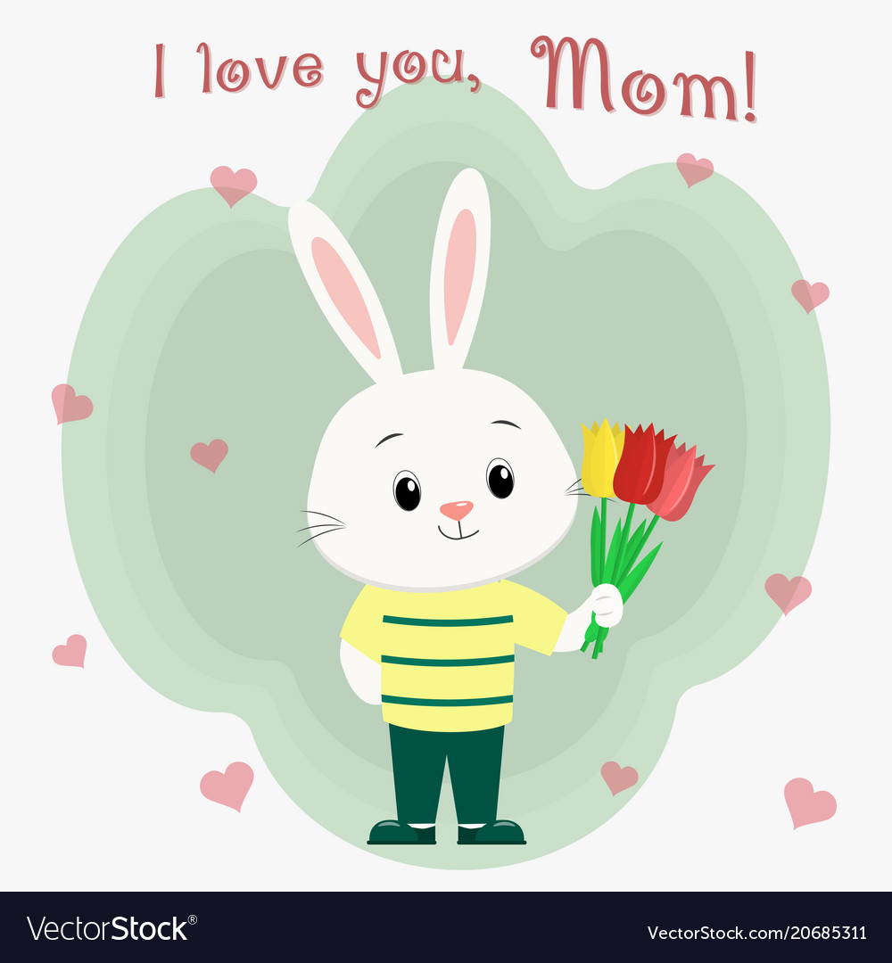 A boy hare in clothes holds three tulips mother s