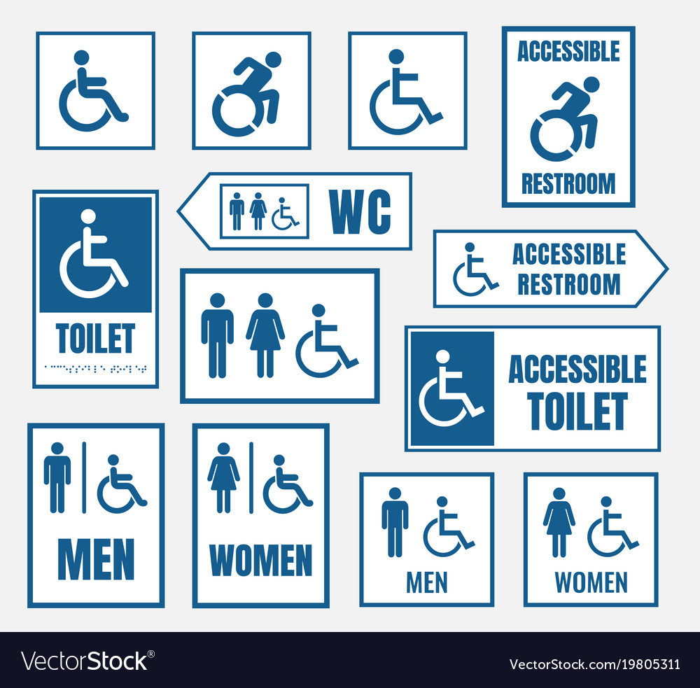 Accesible restroom signs toilet sign for desabled vector image