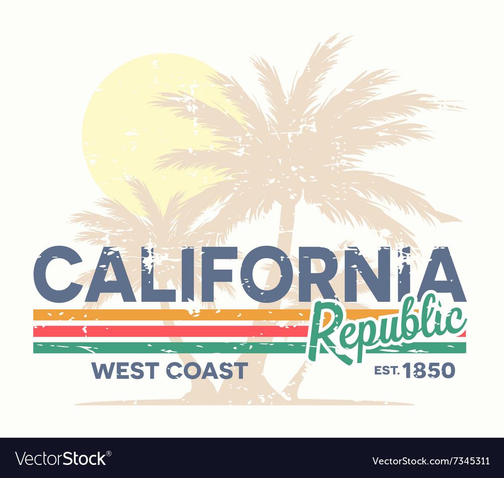 California republic typography Vintage tee print vector image