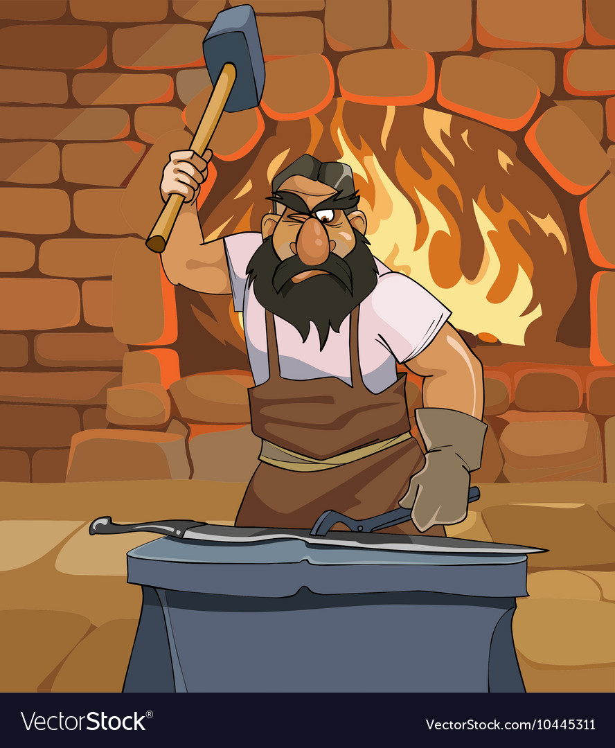 Cartoon male blacksmith forges a sword in smithy