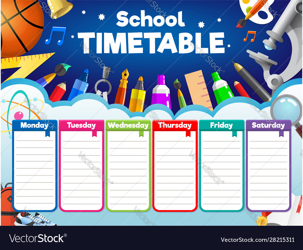 Colorful school timetable weekly schedule with