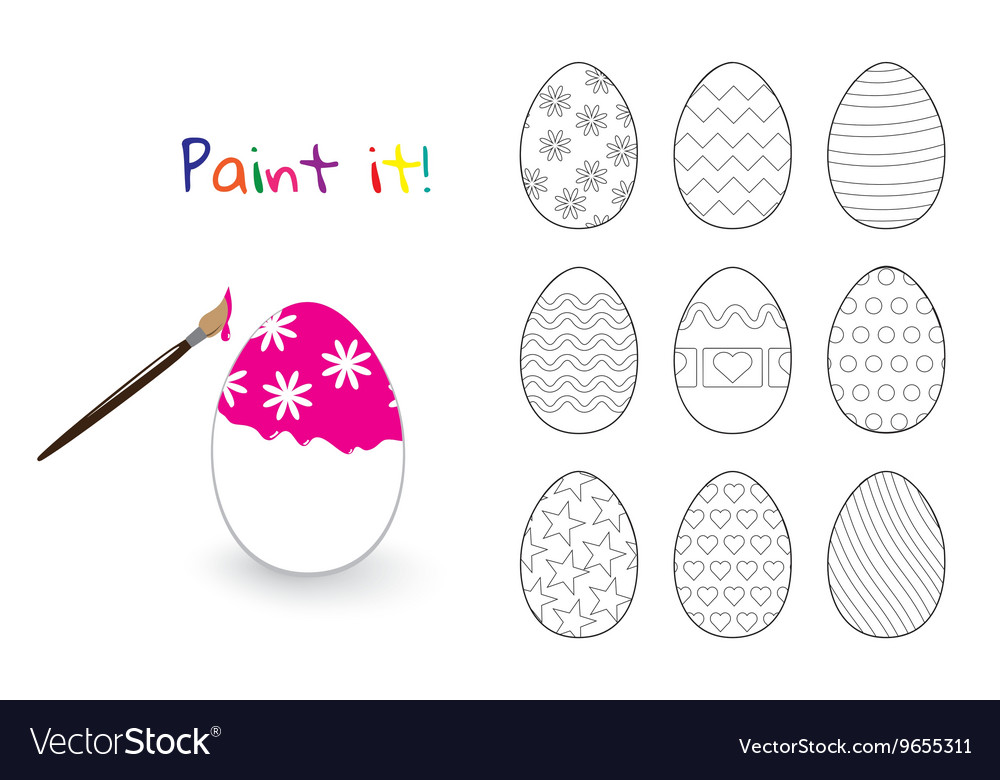 Coloring book Easter decorated eggs set Royalty Free Vector