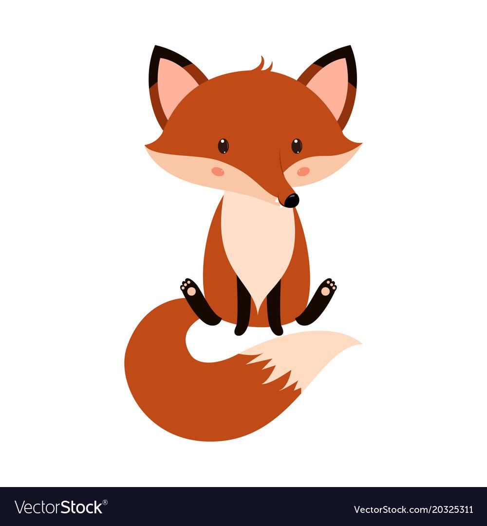 Cute cartoon fox in modern simple flat style