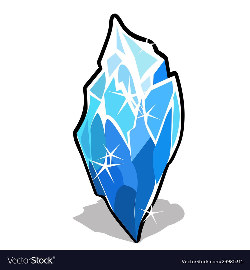 Ice crystal isolated on white background