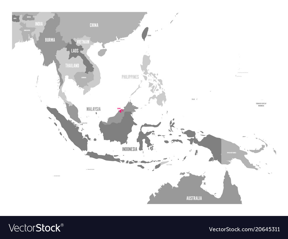 Map of laos pink highlighted in southeast Vector Image