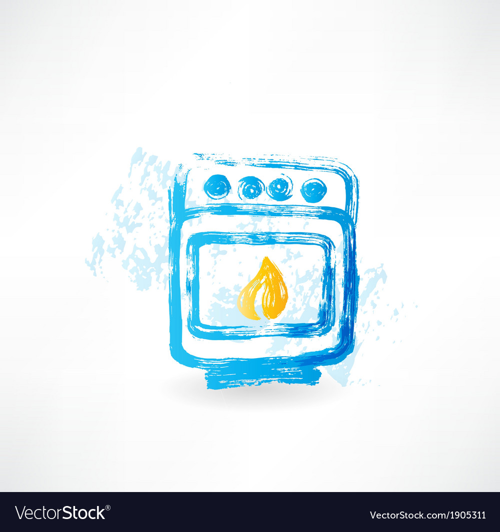 Oven fire grunge icon