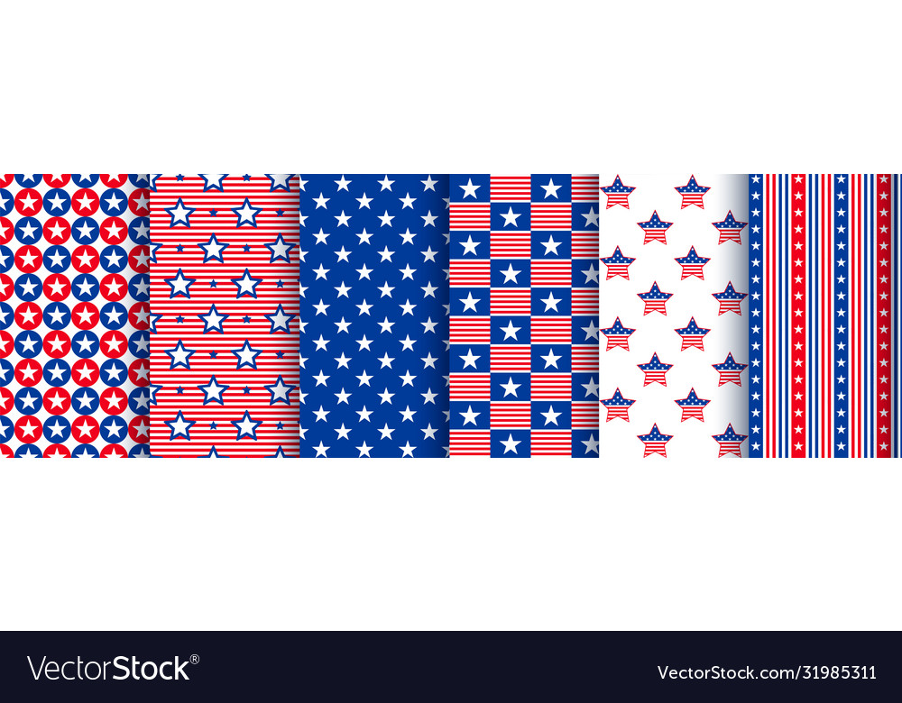 Patriotic seamless patterns with stars in the