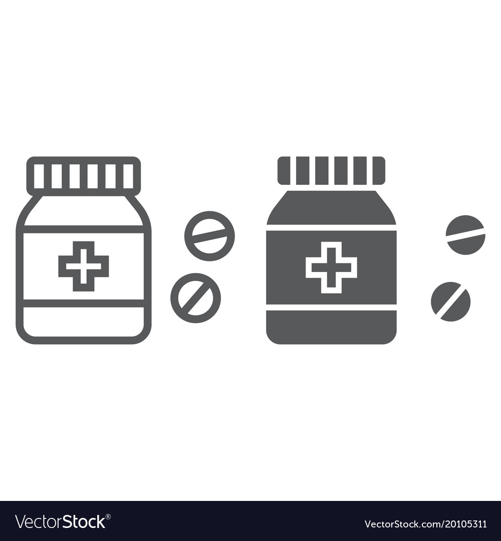 Pills bottle line and glyph icon medical
