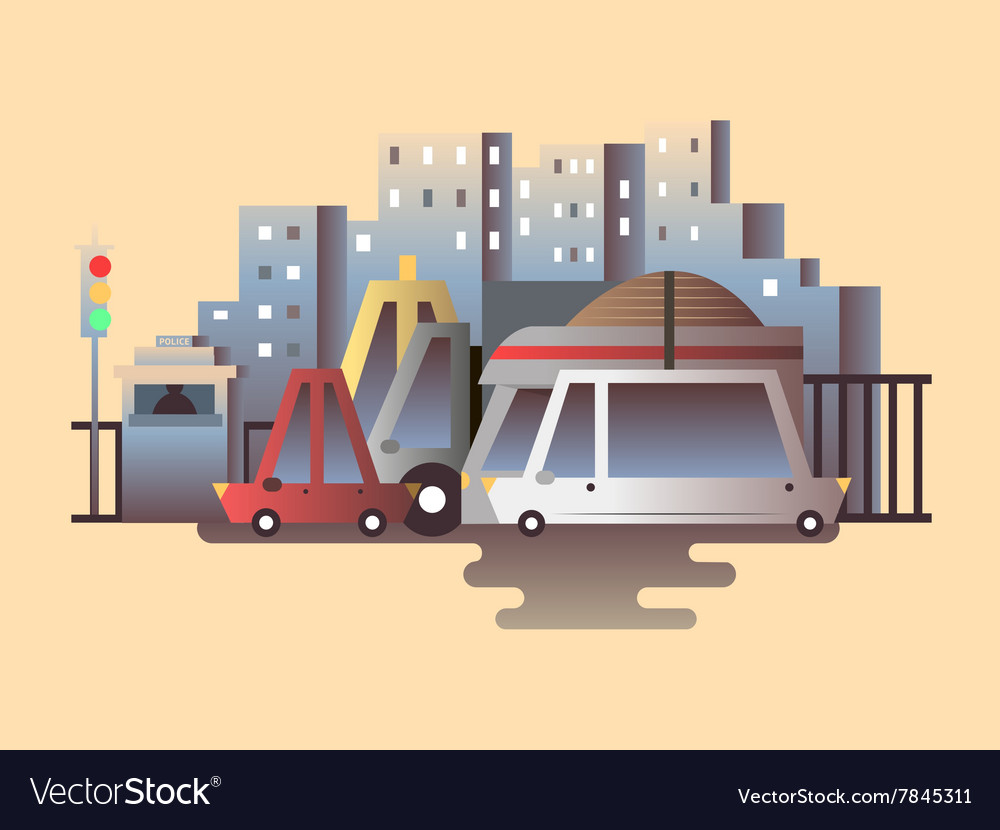 Road traffic design flat vector image