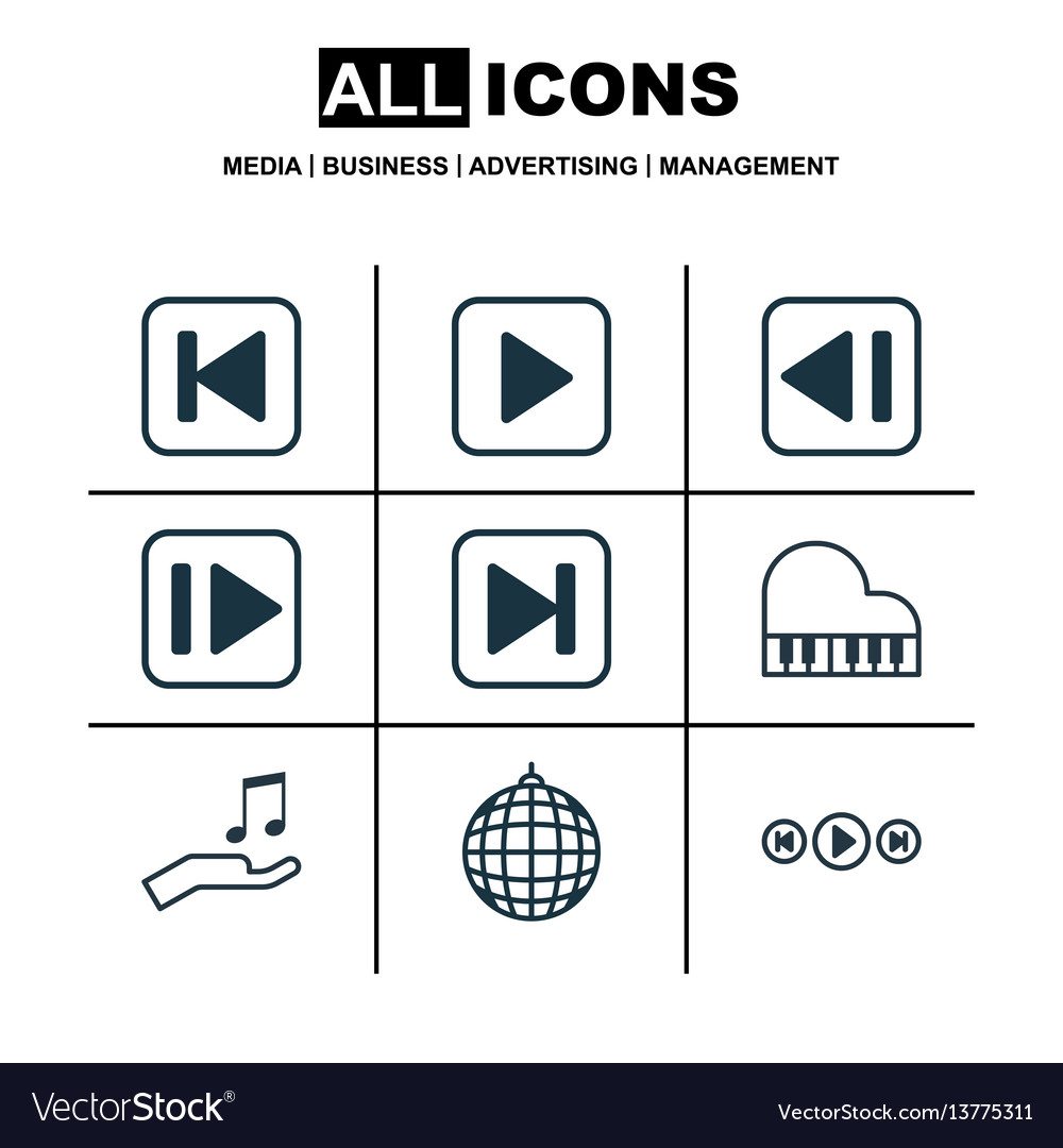 Set of 9 audio icons includes audio buttons skip