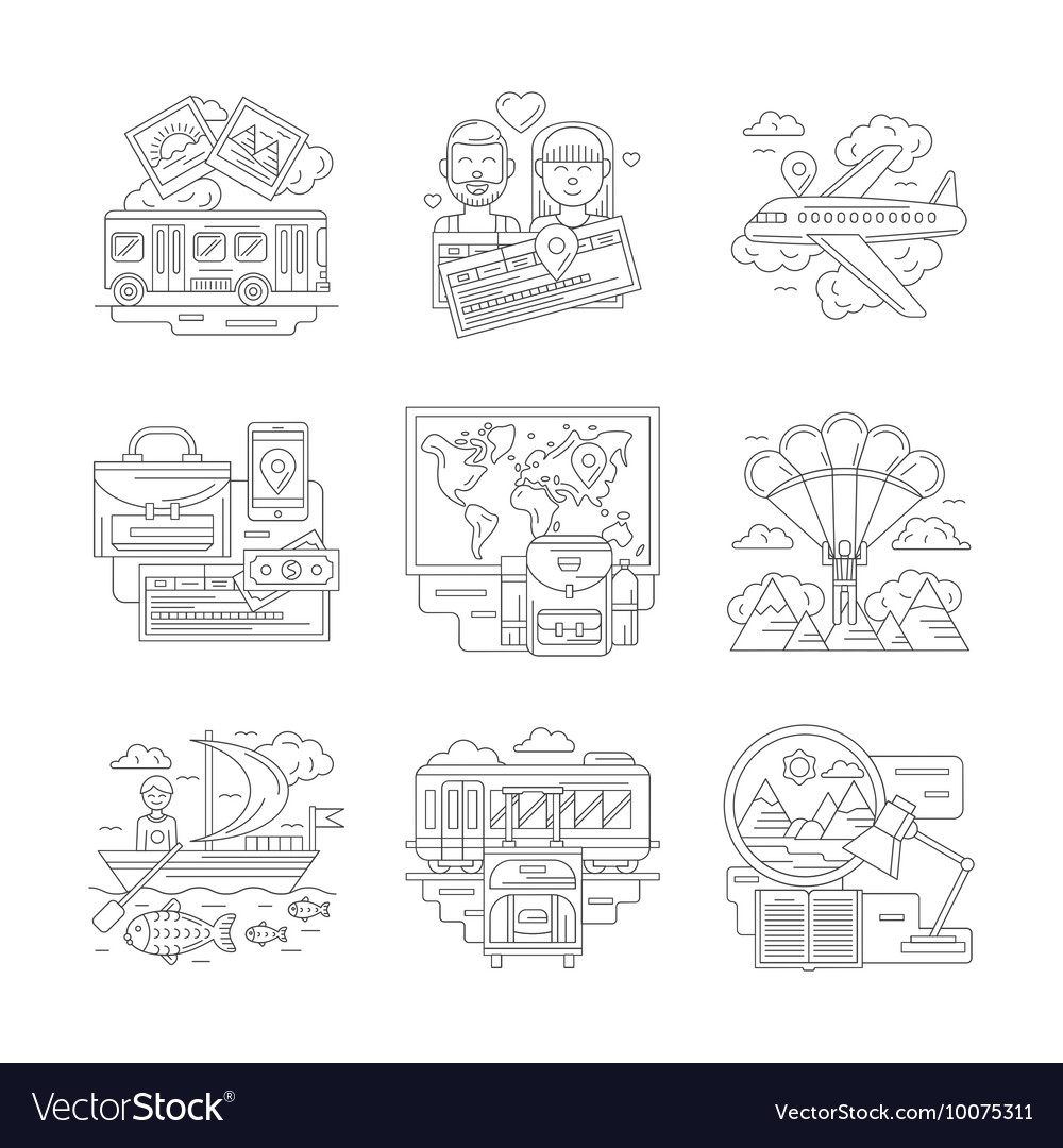 Set of travels detailed line icons
