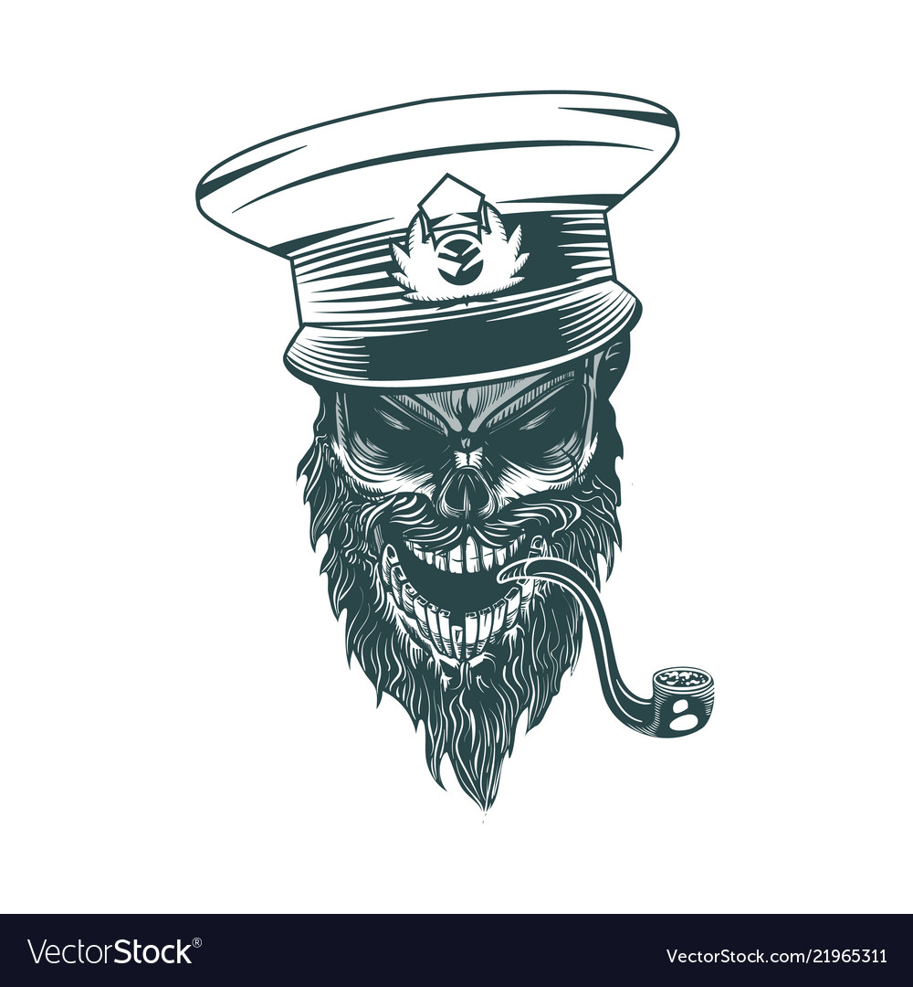 Skull captain with a pipe monochrome hand drawn