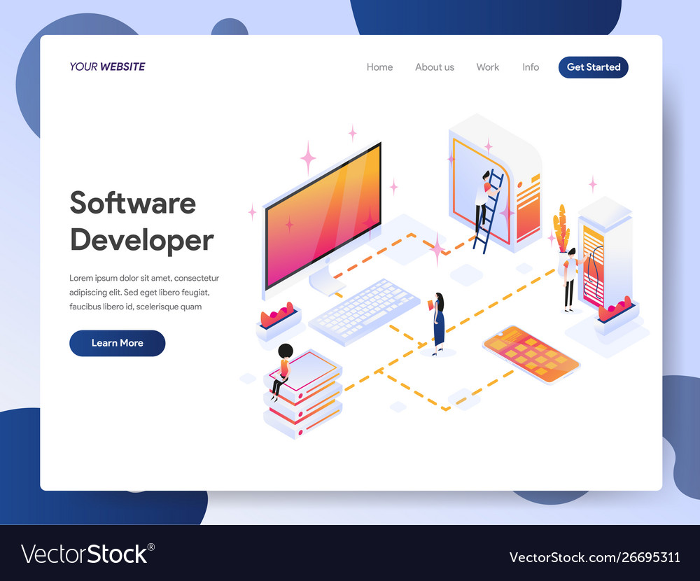 Software developer isometric concept