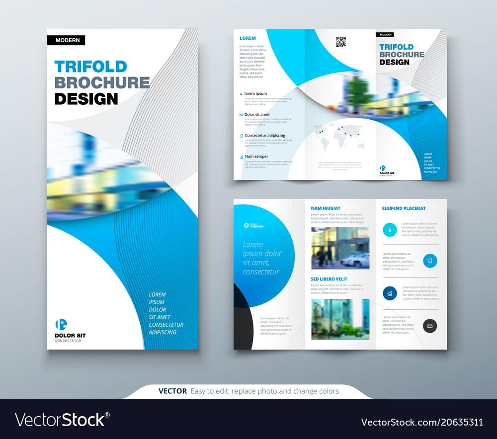 Tri fold brochure design with circle corporate