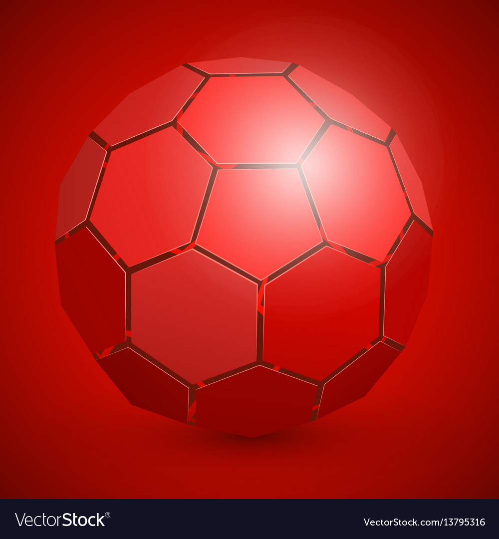 Abstract soccer 3d ball red