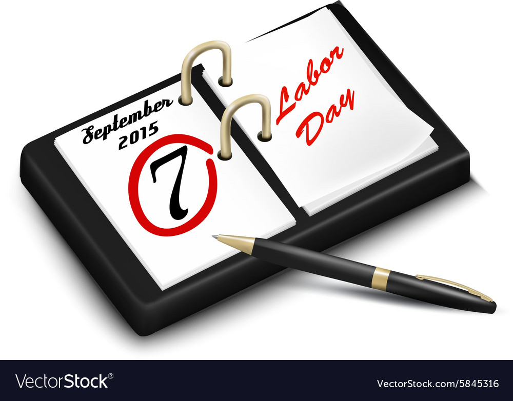 Calendar with a marked 7th of September The Labor vector image