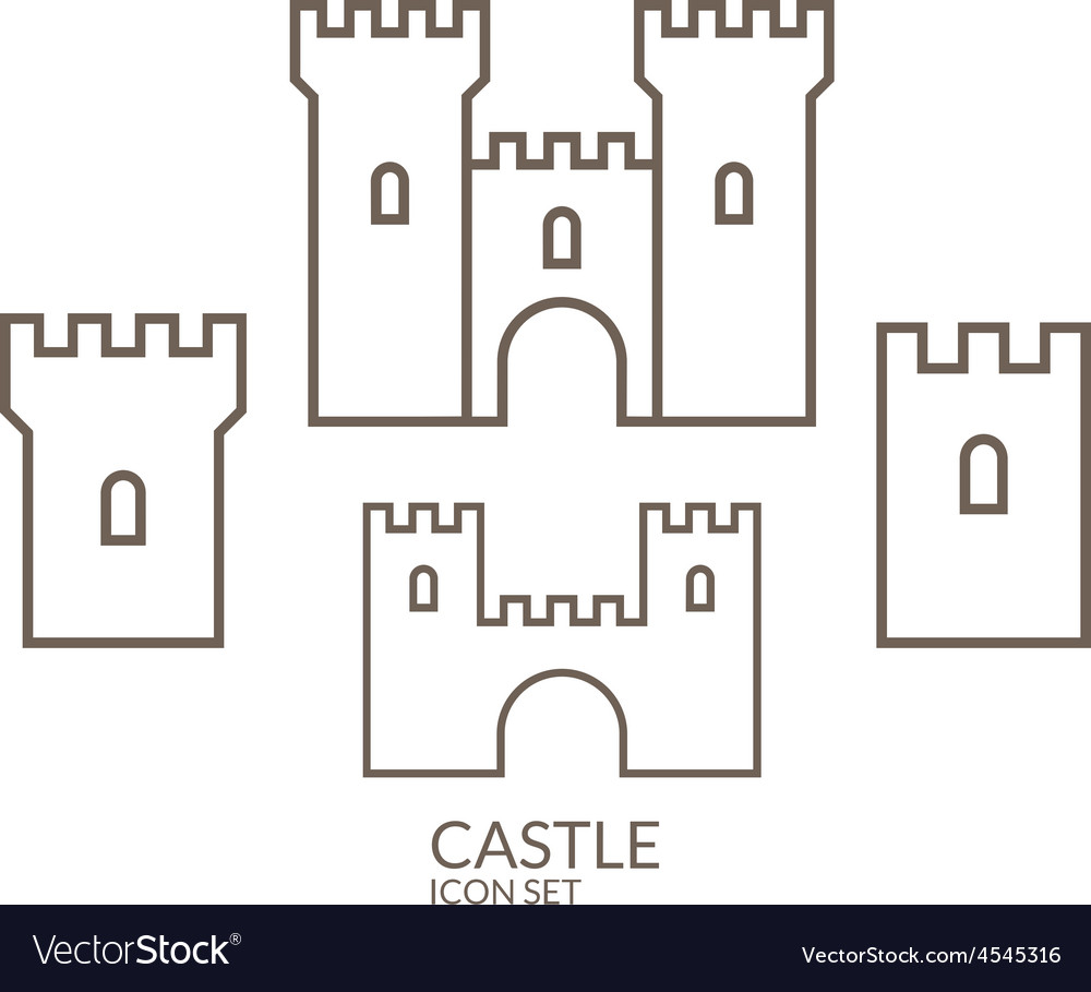 Castle Icon Set Outline Royalty Free Vector Image