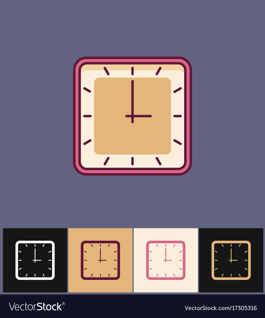 Clock icon flat on different