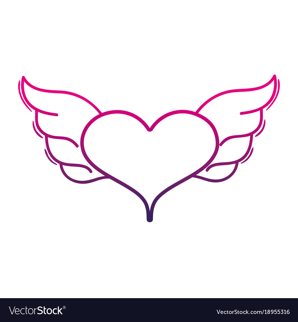 Color Line Heart With Wings Symbol Love Art Vector Image