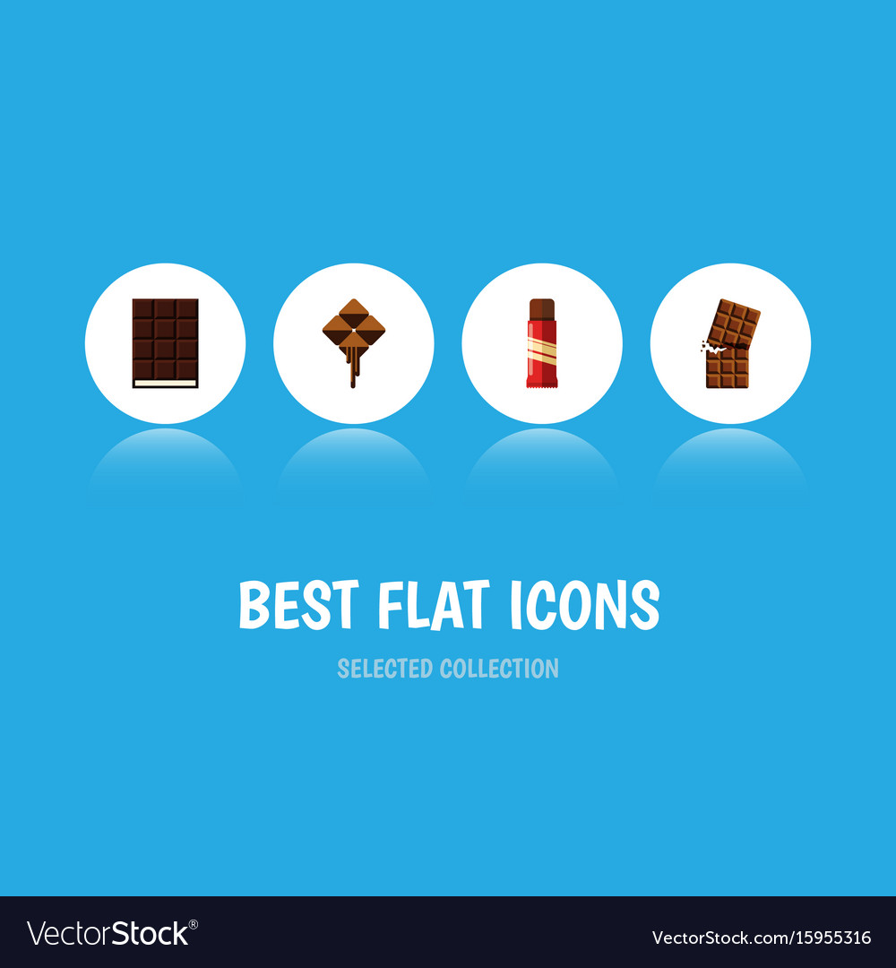 Flat icon cacao set of dessert delicious wrapper