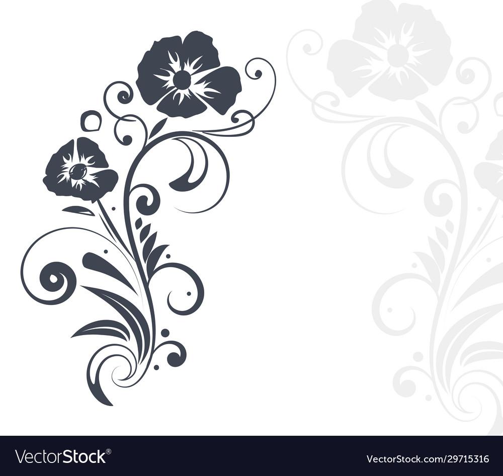 Floral branch black flat decoration