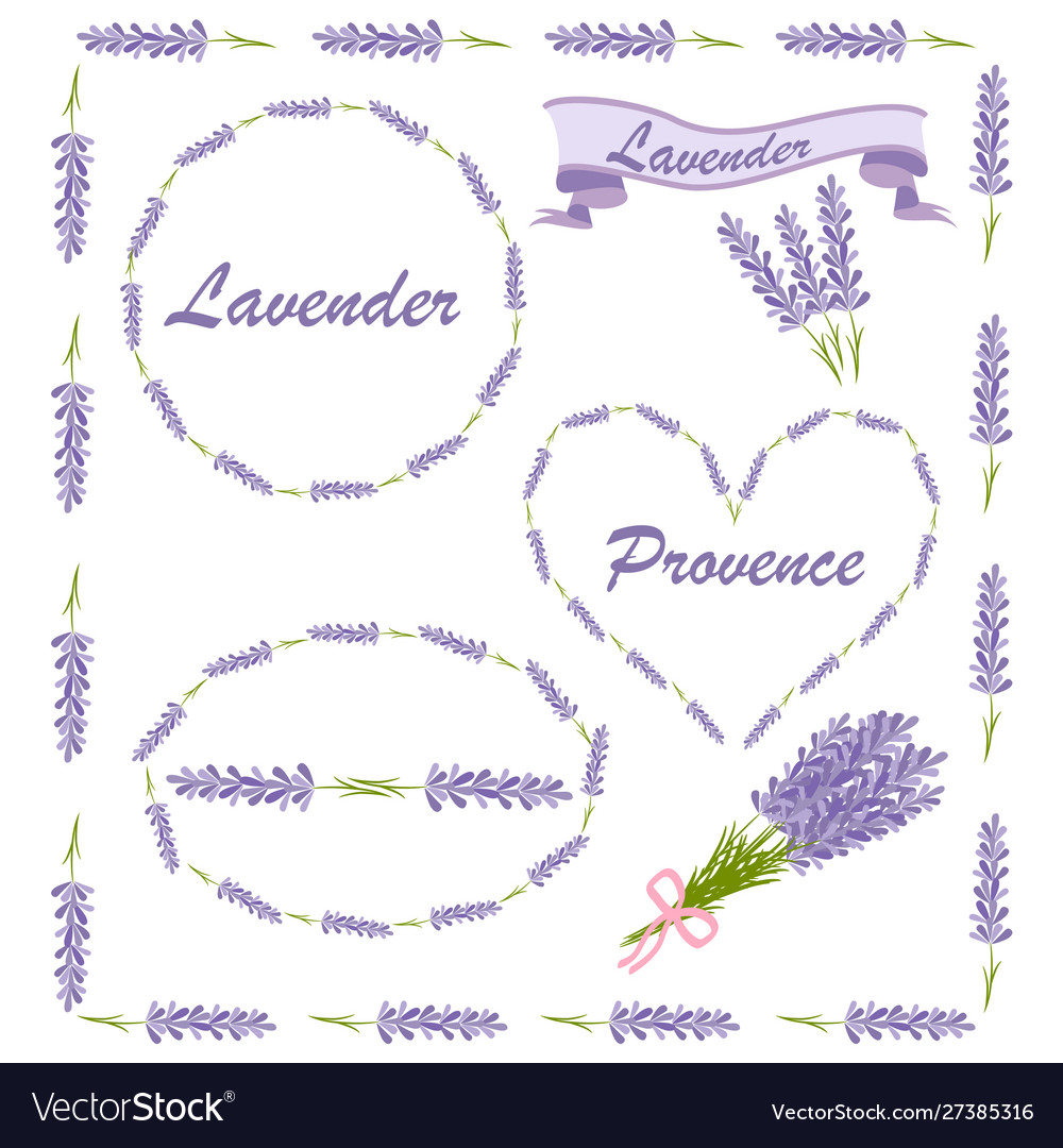 Floral elements for logo or decor lavender icons