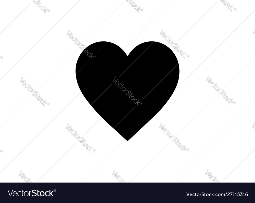 Image a flat linear black heart icon