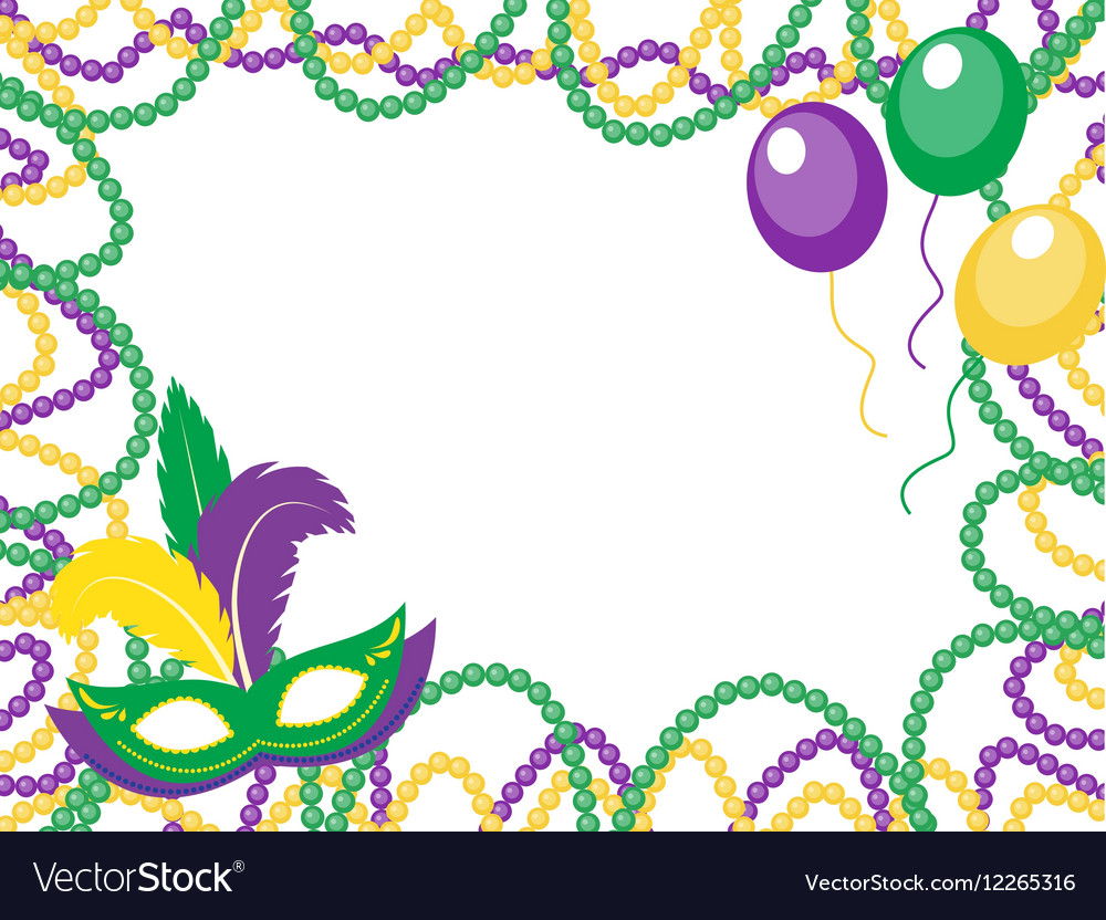 Mardi Gras beads colored frame with a mask and Vector Image