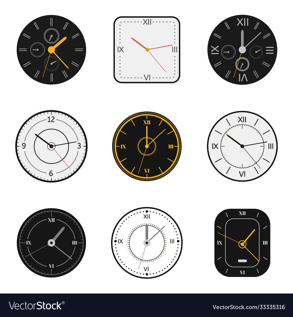 Modern watch face clock round scale faces
