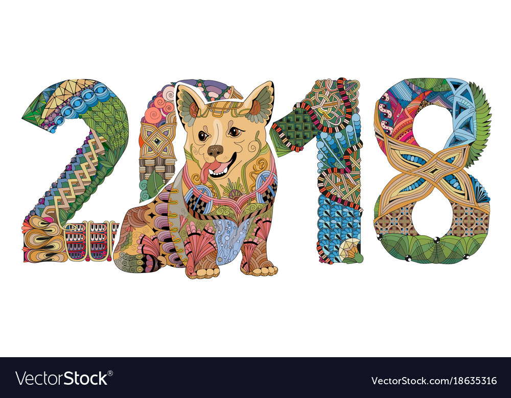 Number 2018 zentangle with dog decorative vector image