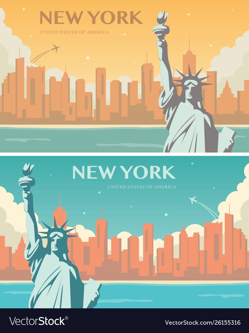 Statue liberty banner set world landmark