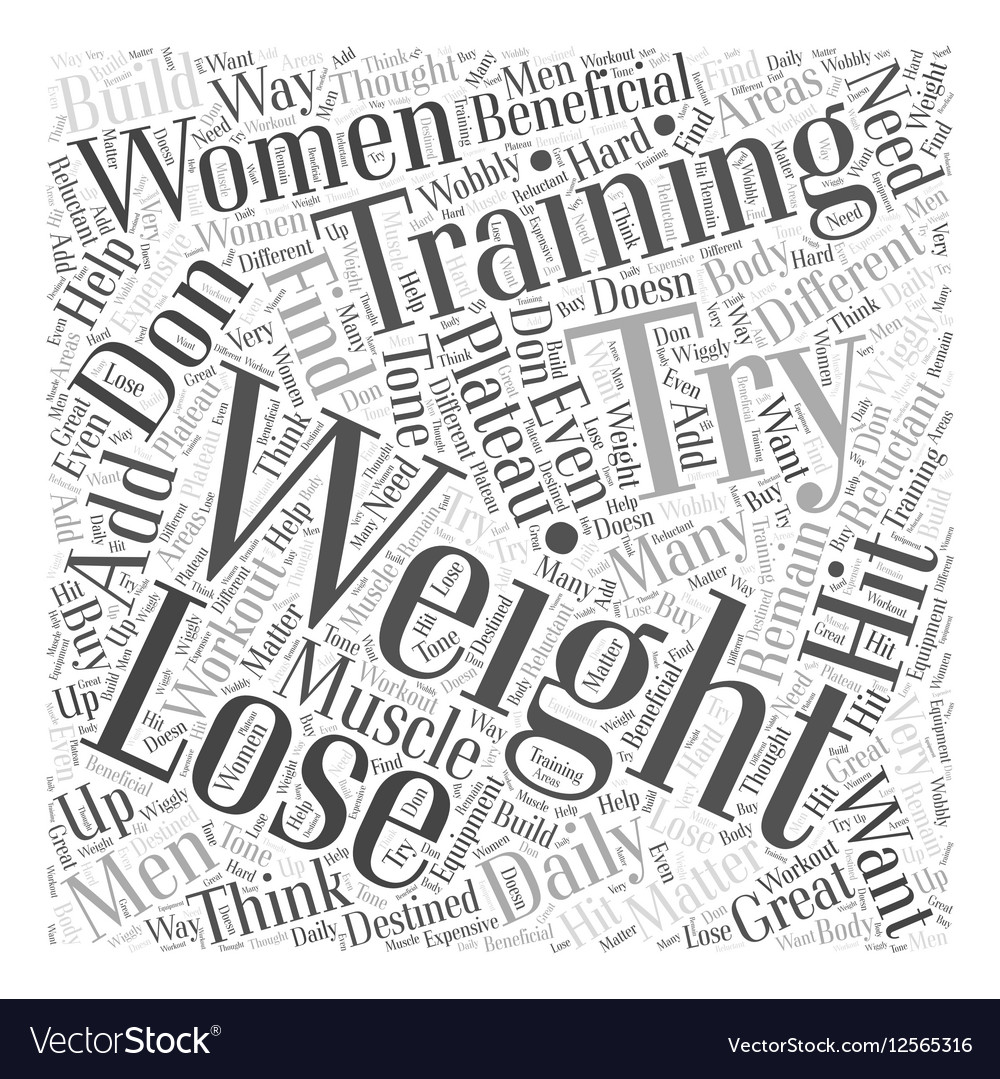 Weight training Word Cloud Concept vector image
