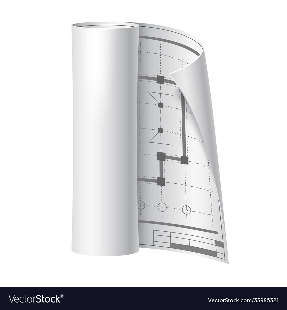 3d engineer drawing scroll paper blueprint