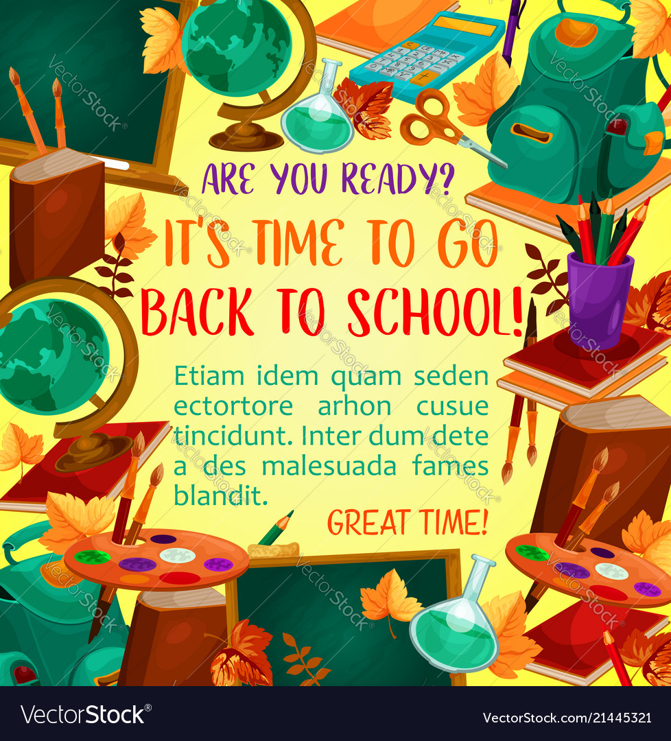 Back to school poster with study supplies frame