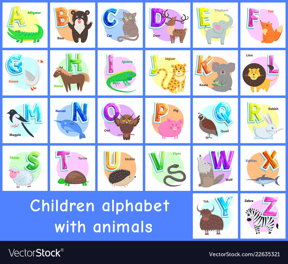 Children alphabet posters set