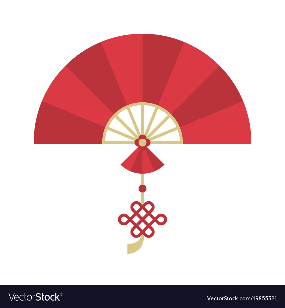 Chinese folding handheld fan with chinese knot vector image
