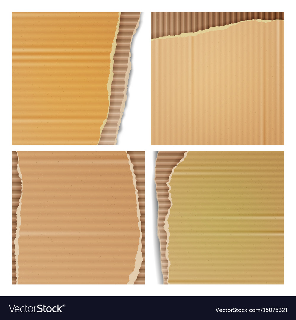 Corrugated cardboard set realistic texture
