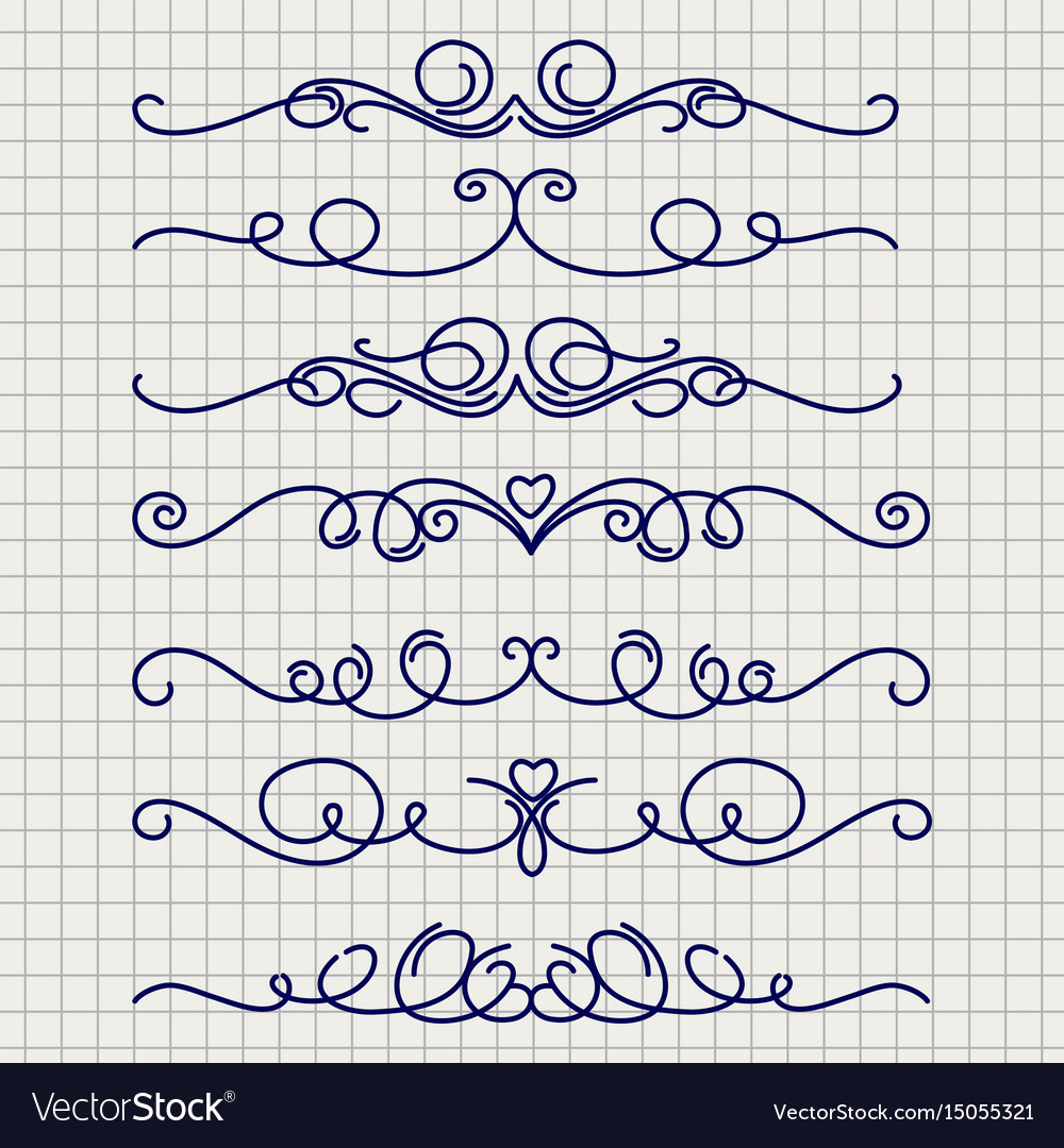 Cute doodle thin line borders
