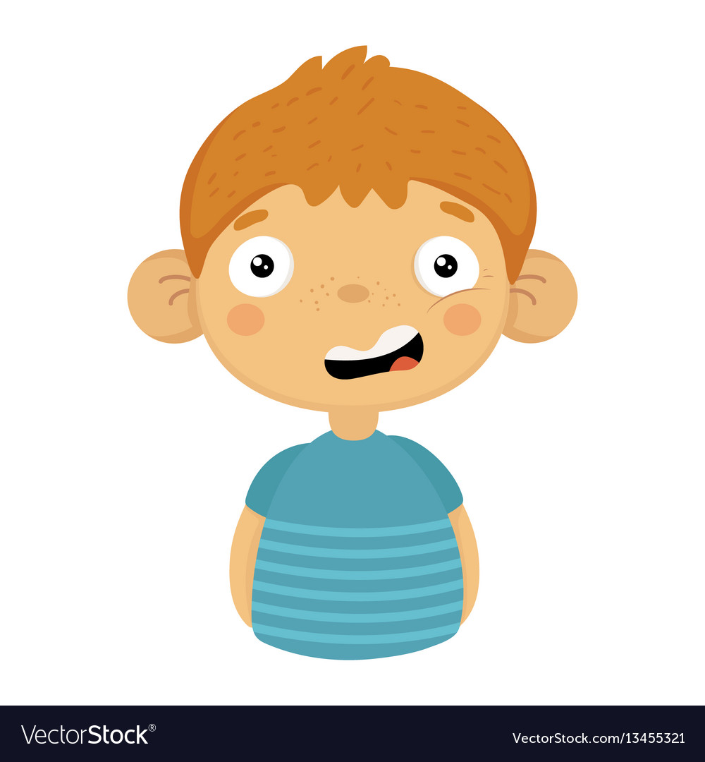 Doubtful smiling cute small boy with big ears in vector image