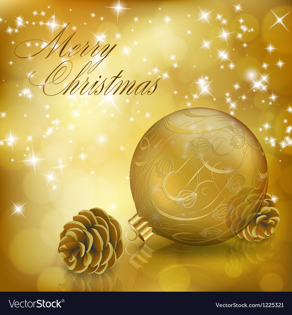 Golden Xmas greeting card vector image