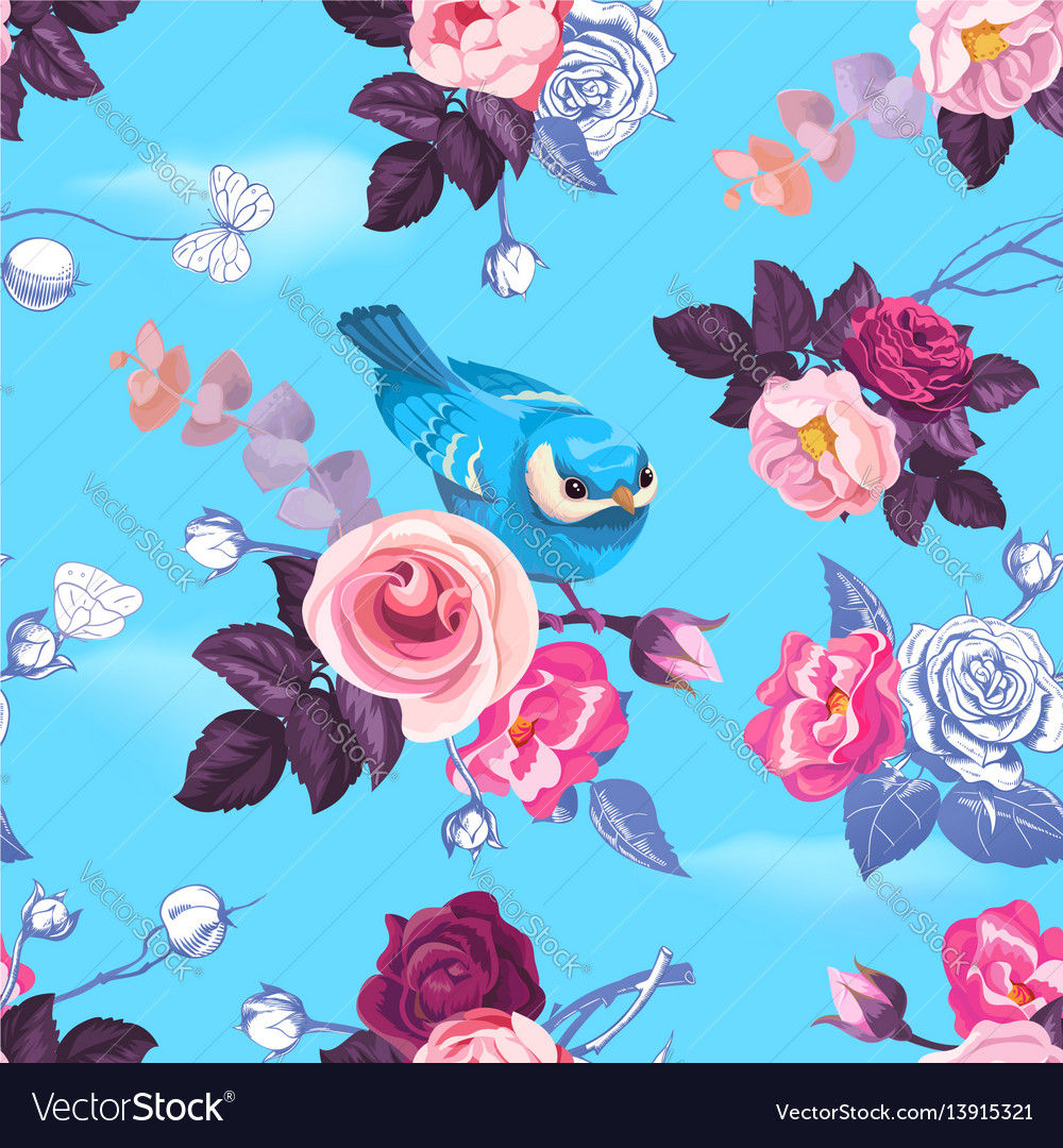 Gorgeous seamless pattern with half-colored wild vector image