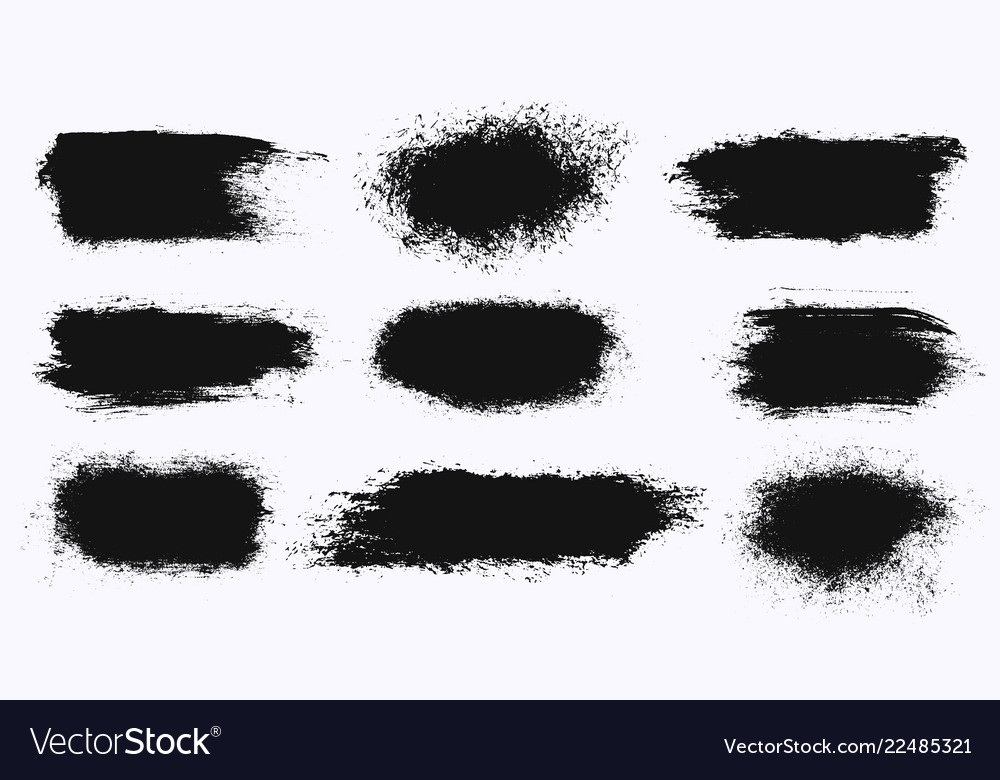Set of different ink paint brush stroke banners