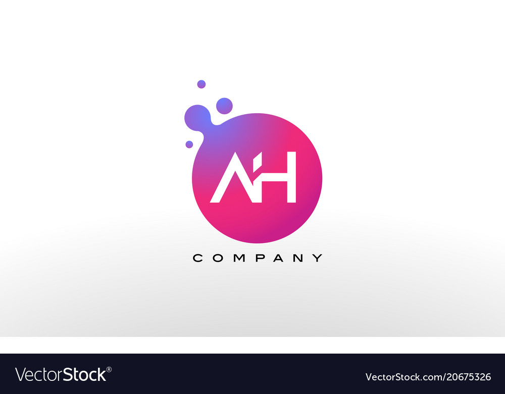 Ah letter dots logo design with creative trendy