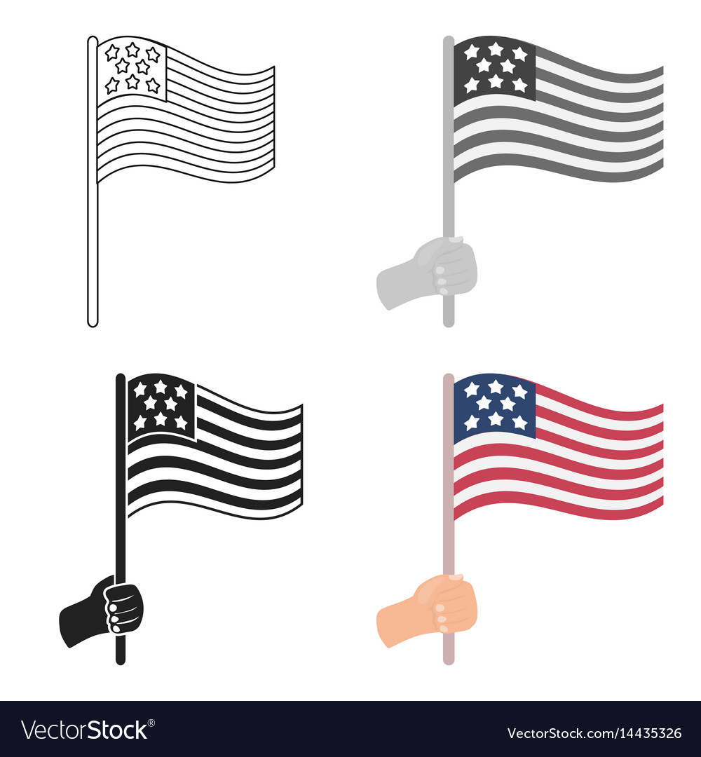 American flag icon in cartoon style isolated on