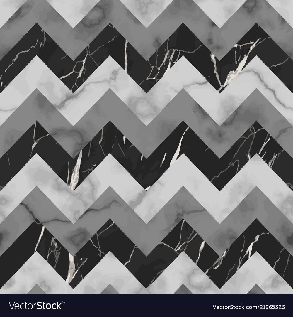 Black grey and white marble zig zag seamless