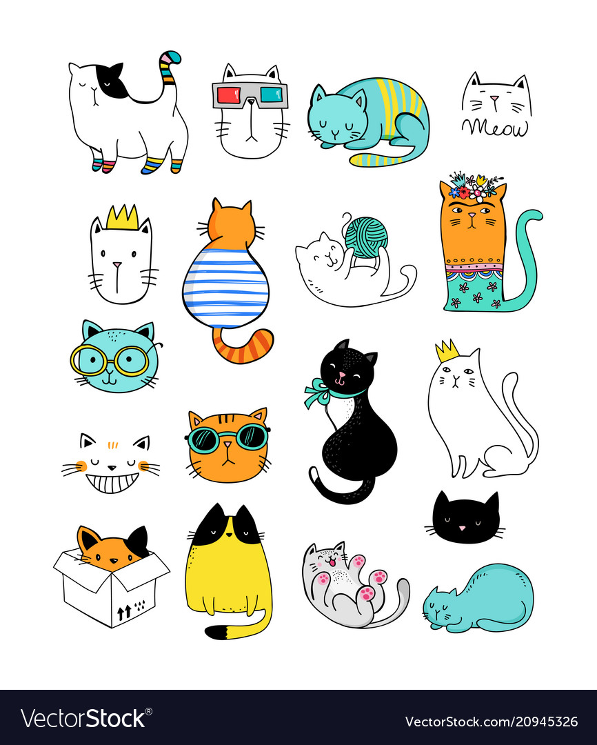 Cat doodles collection of