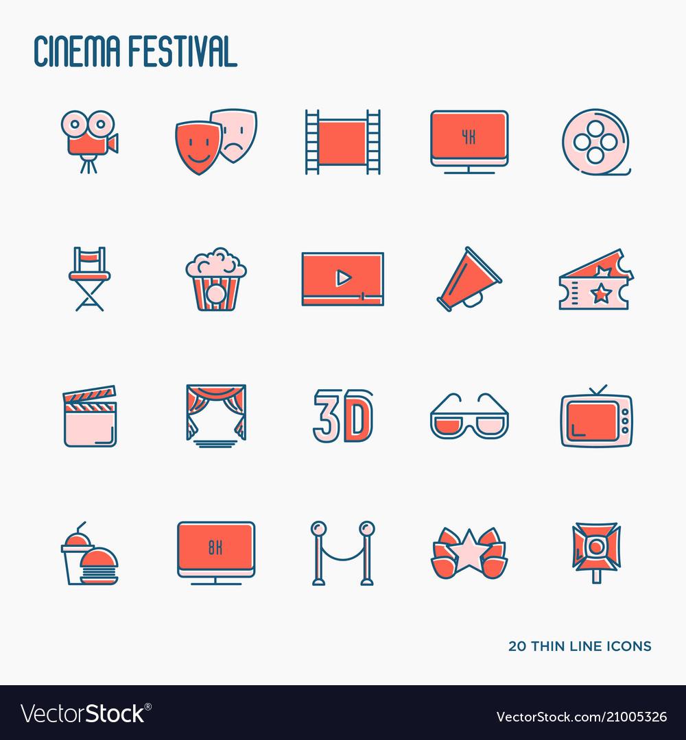 Cinema festival thin line icons set