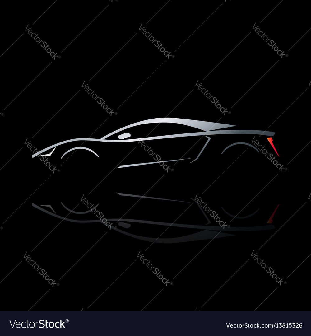 Concept sport car silhouette with reflection